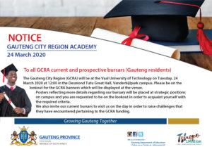 GAUTENG CITY REGION ACADEMY BURSARY OPPORTUNITIES